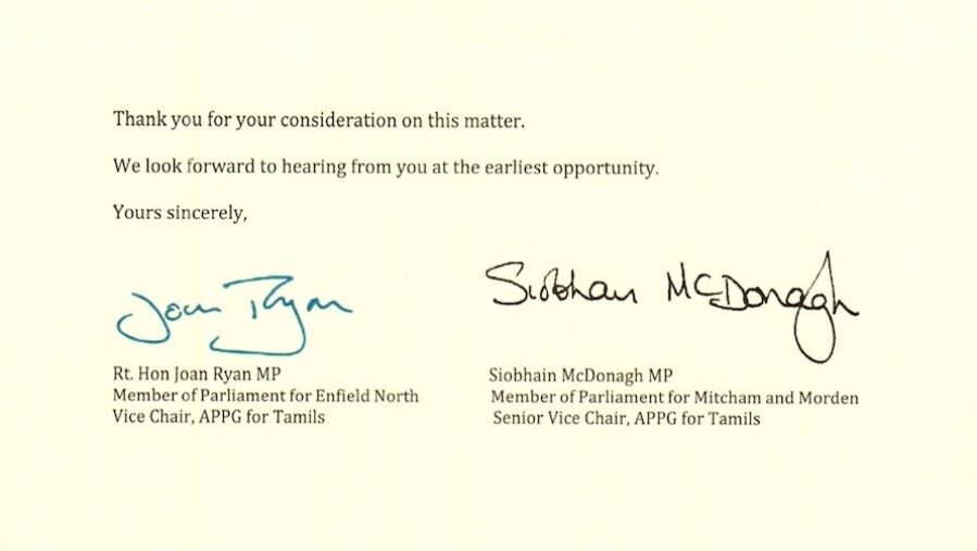 UK's All Party Parliamentary Group For Tamils Responds To Navin