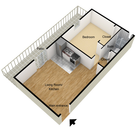 1 Bedroom Studio Apartment Layout