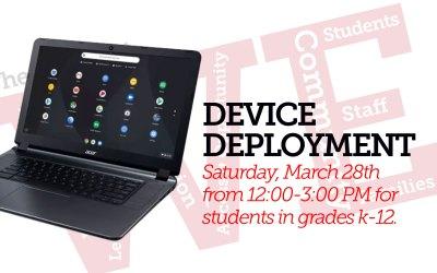 Cihaz Dağıtımı: 28 Mart Cumartesi, 12: 00-3: 00 PM