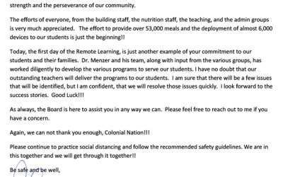 A letter from the CSD School Board President