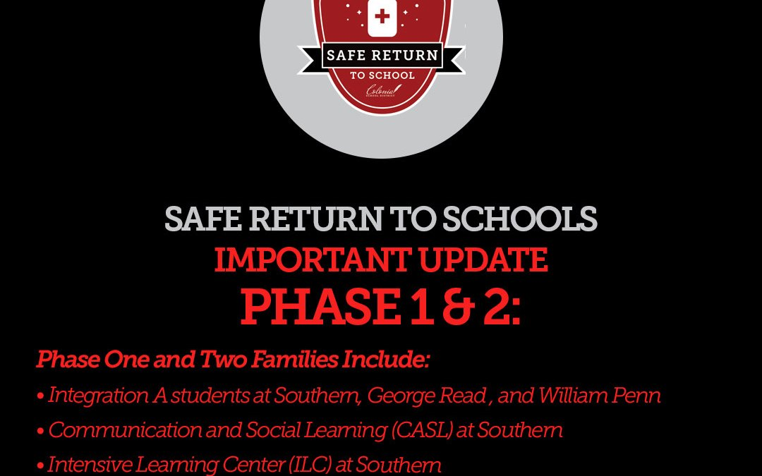 Phase  Phase One and Two Students and Families: Return to School Update