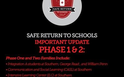 Fase Fase Uno y Dos Estudiantes y Familias: Actualización de Regreso a la Escuela