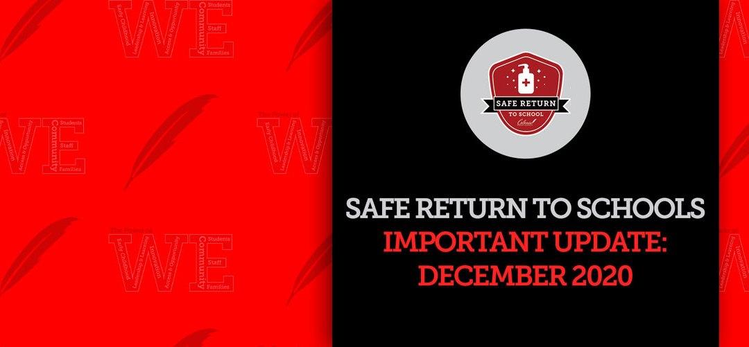 Update on Safe Return to Schools for December