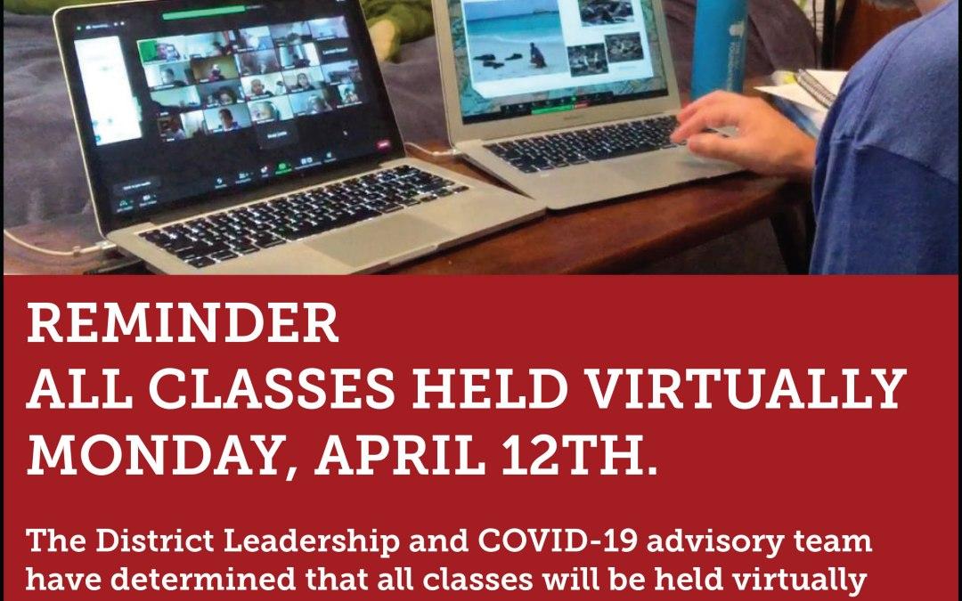 سيشارك جميع الطلاب في التعلم الافتراضي يوم الاثنين 12 أبريل
