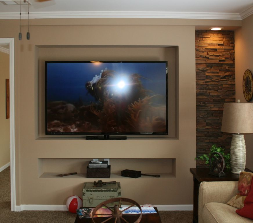 MF412 Recessed TV Center with Stone Accent  Colony Homes
