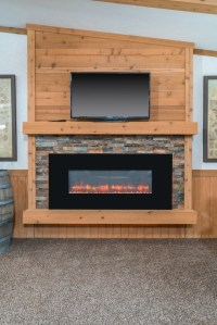 MF-458 LED Fireplace with Stone Surround and Plank Board ...