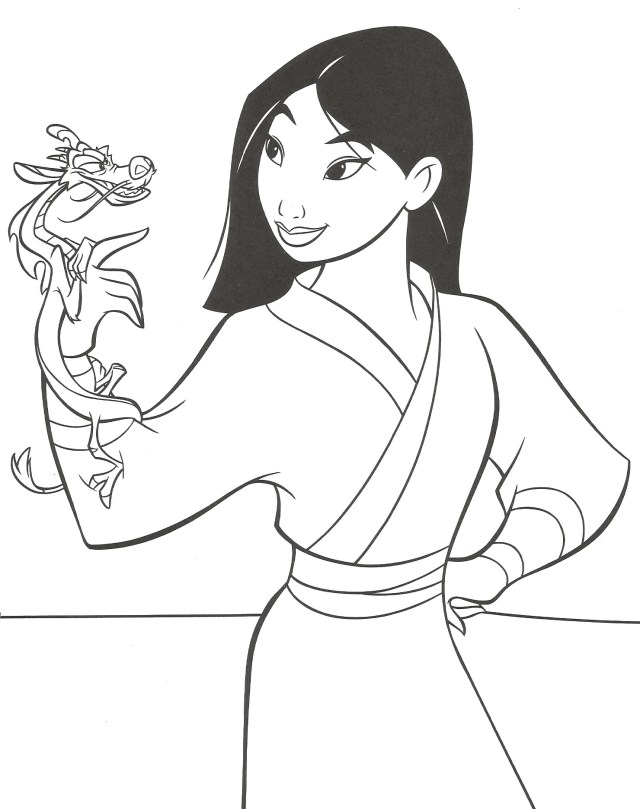 Coloriage Mulan et Mushu à imprimer