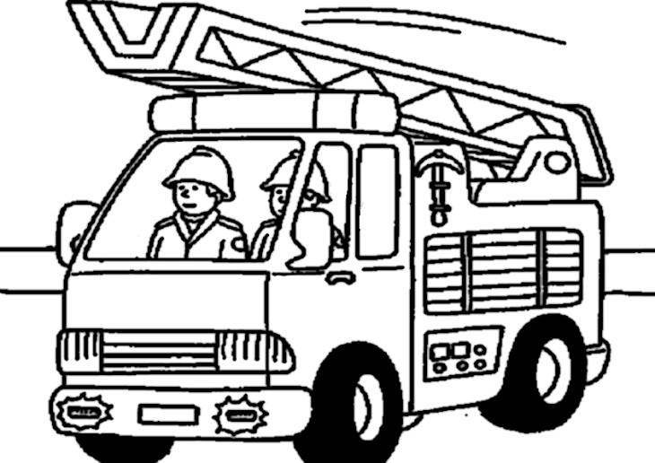 Coloriage Pompier dans un camion à imprimer