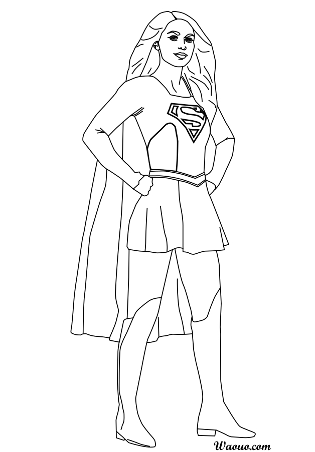 Super Girl Superhero Outline Template Sketch Coloring Page