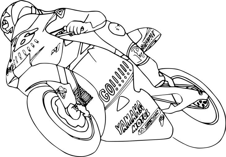 Coloriage moto de course à imprimer