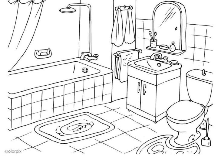 Coloriage salle de bain à imprimer