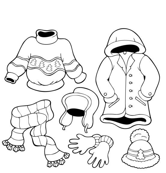 Coloriage vêtements hiver à imprimer