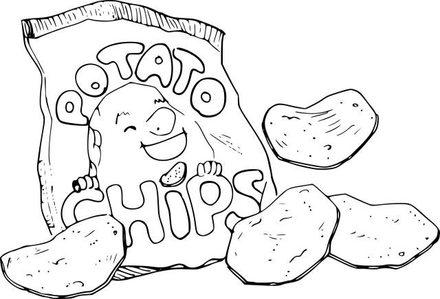 Coloriage paquet de chips à imprimer