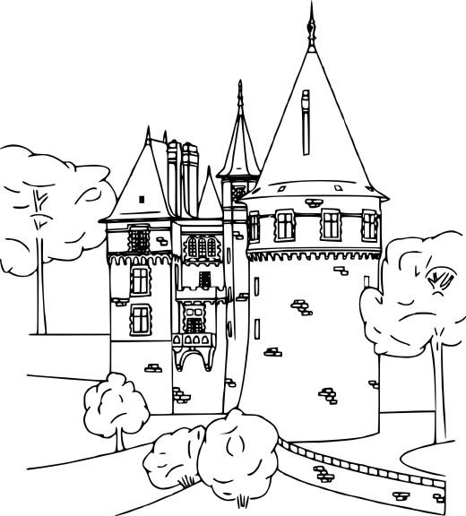 Coloriage château médiéval à imprimer