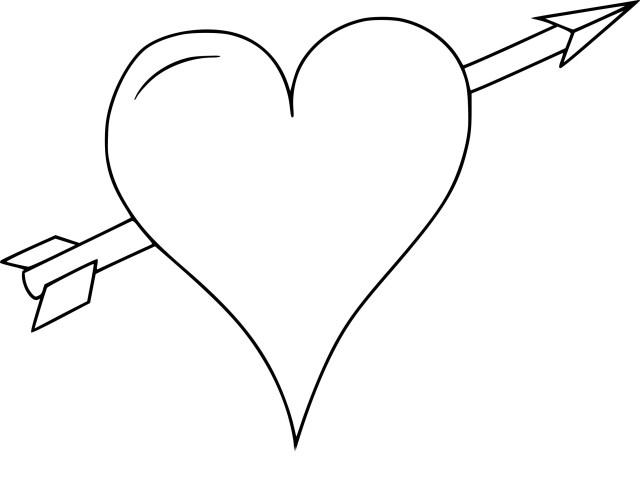 Coloriage coeur avec une flèche à imprimer