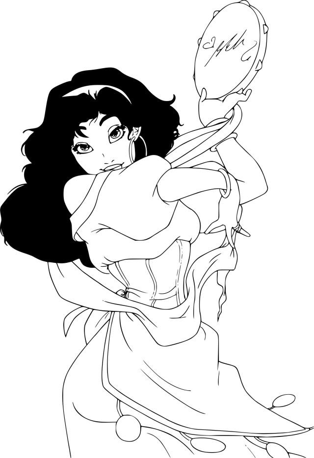 Coloriage Esmeralda Disney à imprimer