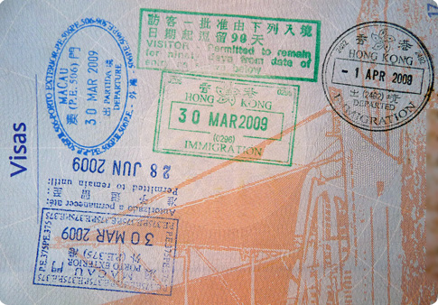 Tampons de la douane à Hong Kong et Macau