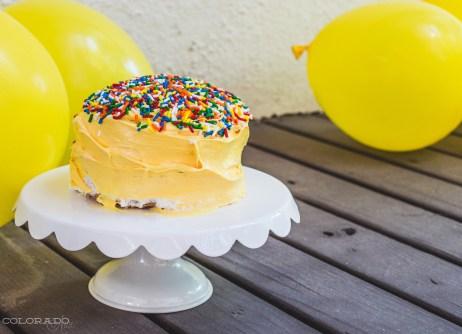 yellow baby smash cake