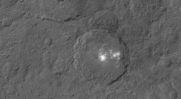 a bright spot on a moon like planet