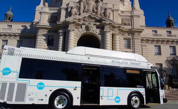 a bus in front of city hall