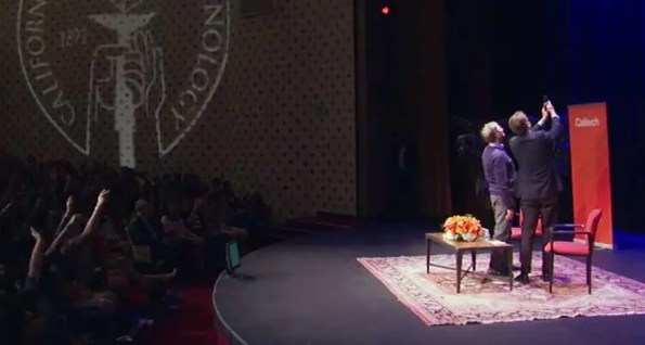 A video grab of Bill Gate's selfie at Caltech (Photo - YouTube).