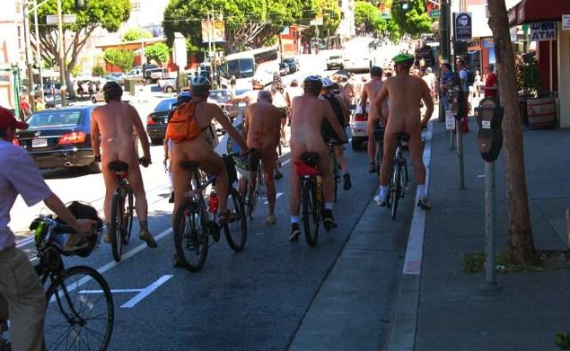 naked riders on bicyels