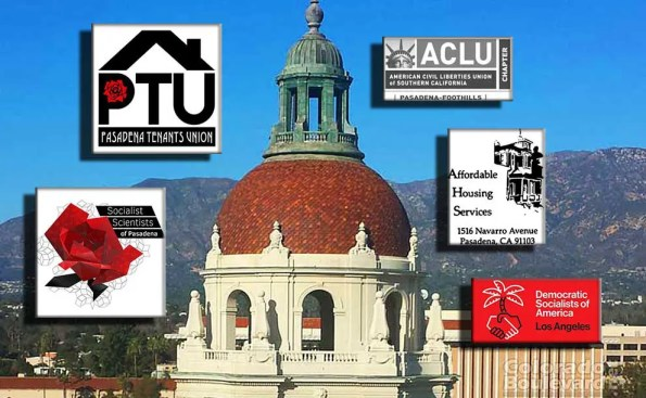 The dome of Pasadena city hall surrounded by logos of the coalition