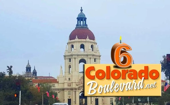 the letter 6 candle with colorado boulevard.net logo imposed over pasadena city hall