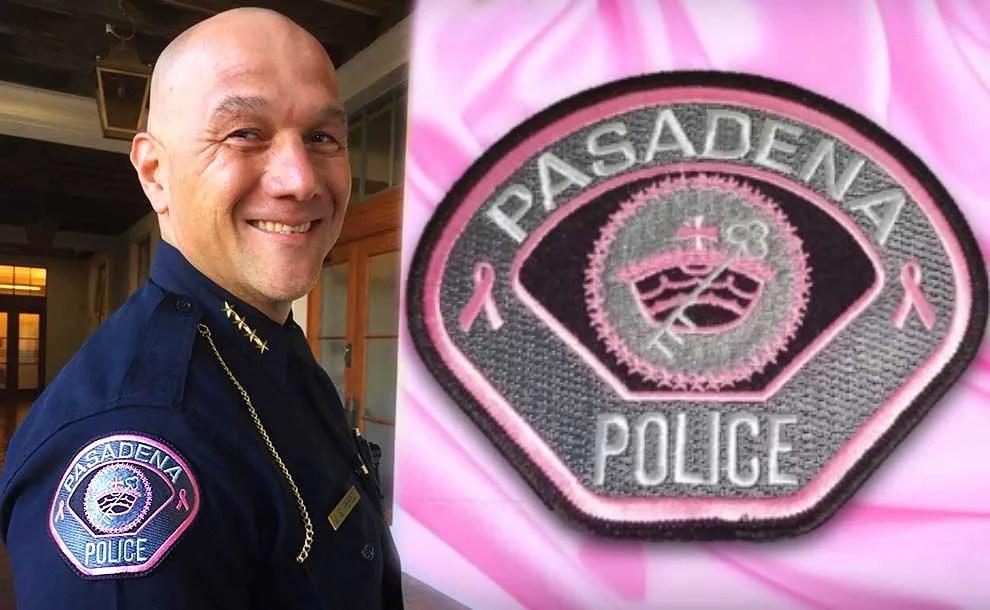 Pasadena Police Chief showing a pink badge