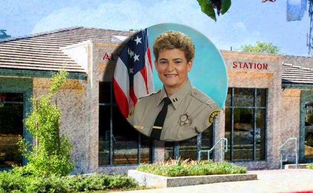 A circular image of Marjory L. Jacobs superimposed on the Altadena sheriff's station