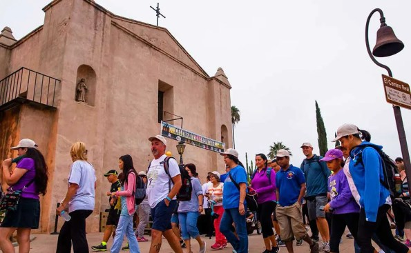 People walking by the Mission in Downtown L.A.