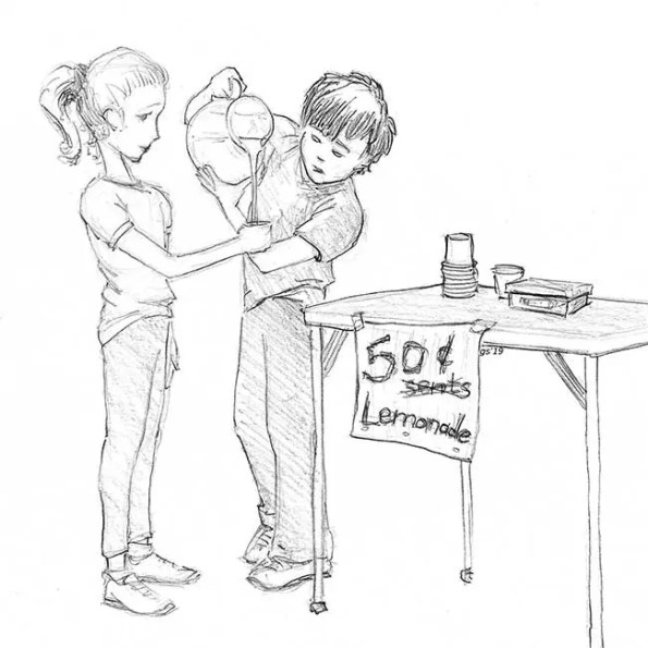 A boy pouring lemonade into a glass held by a girl. A sign underneath says: 50 (misspelled word cents and crossed out) Lemonade