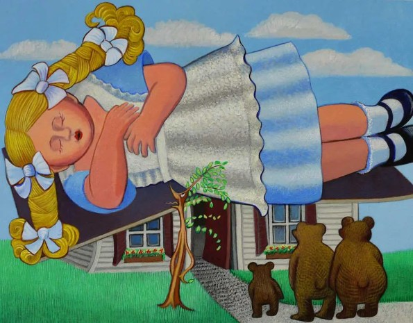 a girl in blond hair sleeps on top of a house with three bears watching