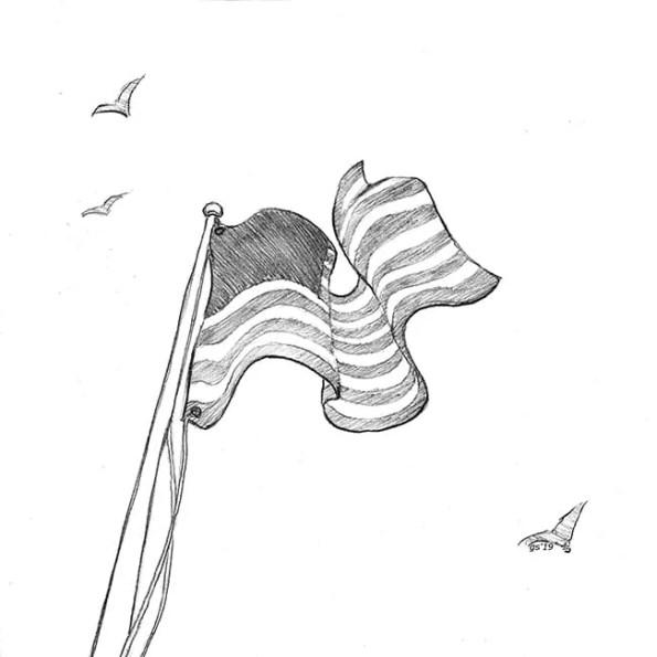 A flag waving high above