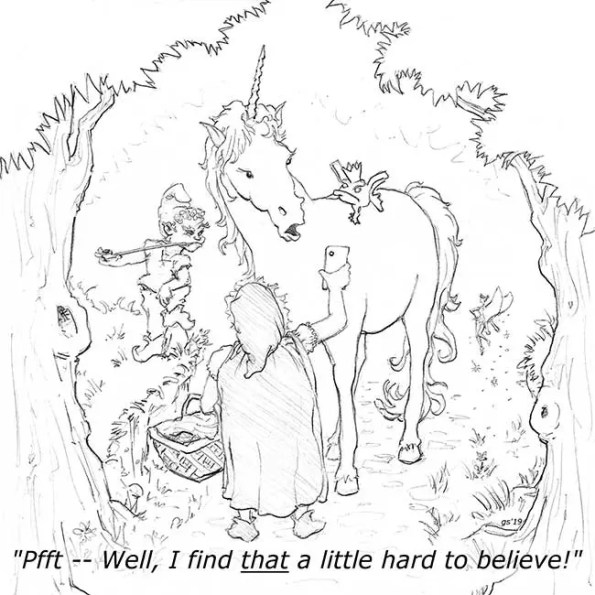 a unicorn a fairie and a woman