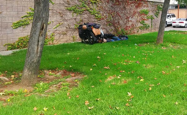 a person is sleeping on the grass with a wheelchair next to him with luggaege inside