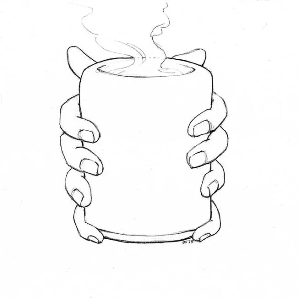 Hands holding a hot drink