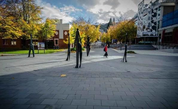 sculptures surrounding a square