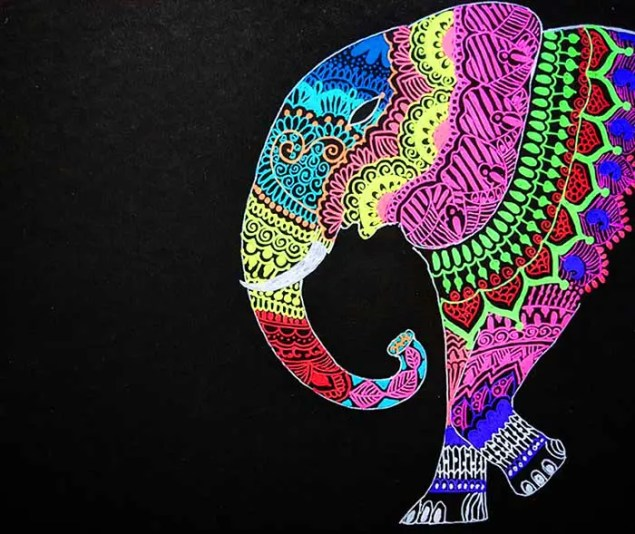 a colorful elephant painting