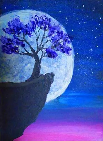 Oainting of tree growing on a cliff with moon behind