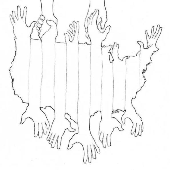 A map of the United States with hands reaching outward