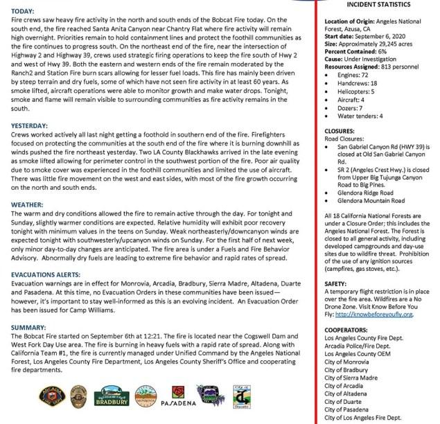 Bobcatfire Update Report