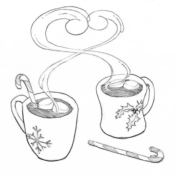 2 hot chocolate cups with steam hugging