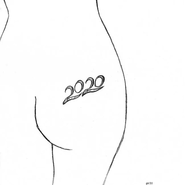 a behind with a tatoo of 2020