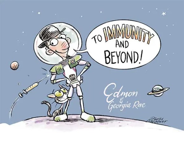 space man saying: to immunity and beyond