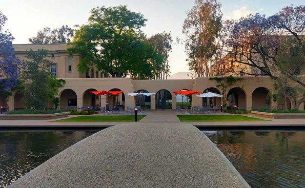 a campus with umbrellas and water