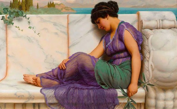 Painting of a woman idling by a pool