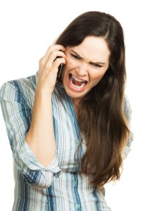 Woman upset on phone