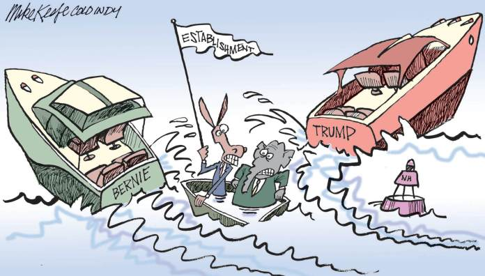 Donald Trump and Bernie Sanders leave their parties' establishment at sea in this political cartoon
