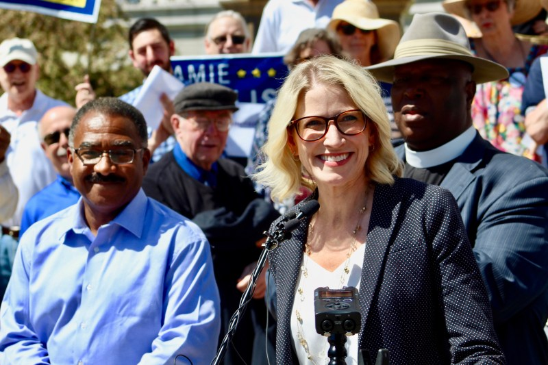 """Jamie Giellis speaks at her """"unity rally"""" on May 14, 2019. (Photo by Alex Burness)"""